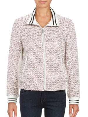 Tweed Zip Front Jacket...