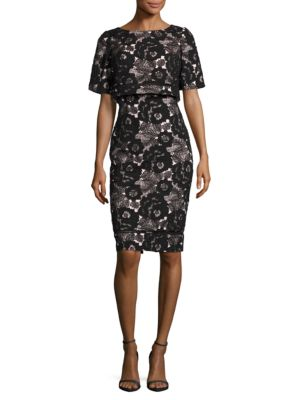 Short-Sleeve Floral Organza Popover Dress by Badgley Mischka Platinum