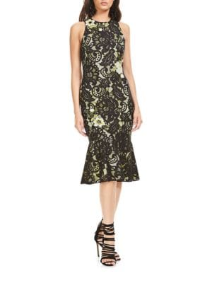 Floral-Applique Sleeveless Dress by Theia