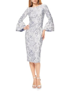Metallic Jacquard Bell Sleeve Dress by Theia