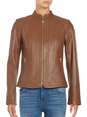 Trapunto Paneled Nappa Leather Jacket by Cole Haan