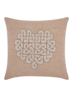 Beaded Heart Accent Pillow