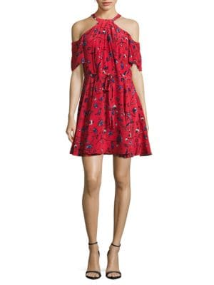 Cold Shoulder Floral-Print Silk Dress by Shoshanna