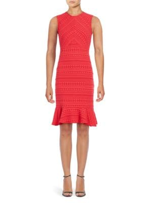 Stretch Jacquard Flounce Hem Sheath Dress by Shoshanna