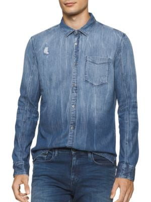 Rip and Repair Distressed Denim Sportshirt by Calvin Klein Jeans