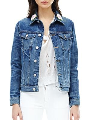 Classic Floral Embroidered Denim Jacket by Hudson Jeans