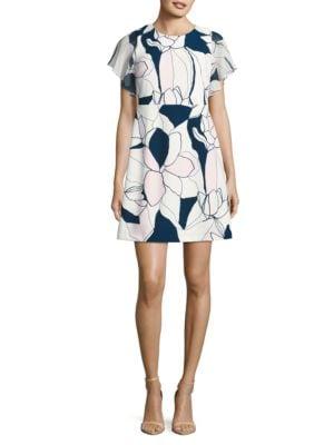 Floral Flutter Sleeved Shift Dress by Ivanka Trump