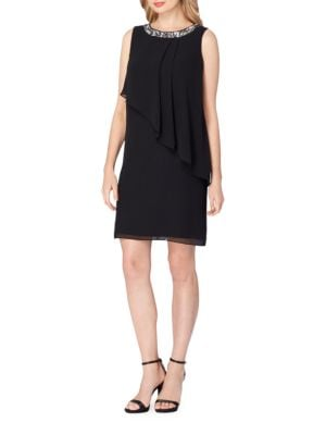 Plus Chiffon Overlay Shift Dress by Tahari Arthur S. Levine