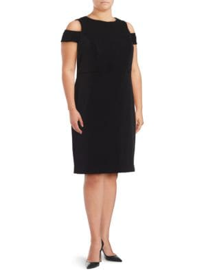 ??old-Shoulder Ponte Sheath Dress by Vince Camuto Plus