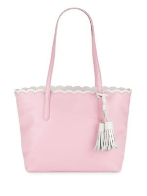 Scalloped Leather Tote...