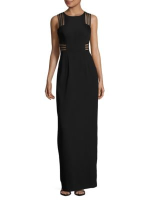 Jewelneck Sleeveless Back-Slit Gown by Aidan Aidan Mattox