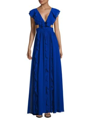 V-Neck Sleeveless Ruffled Gown by Aidan Aidan Mattox