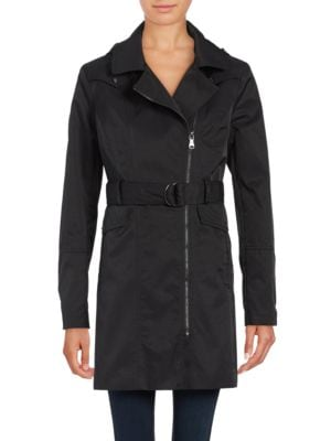 ??emovable Hood Zip-Up Trench Coat by Vince Camuto
