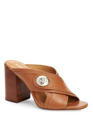 Meggie Open-Toe Leather Sandals by COACH