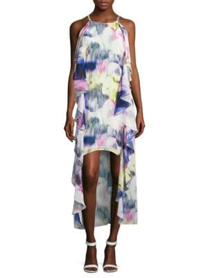 Belle Printed and Ruffled Asymmetric Dress by Belle Badgley Mischka