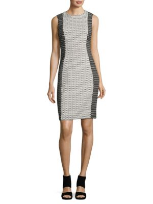 Geometric Contrast Sheath Dress by Calvin Klein