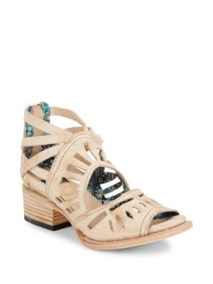Ponce Leather Cutout Block Heel Sandals by Freebird By Steven
