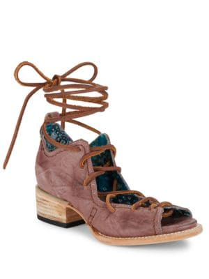 Peace Distressed Leather Ghille Sandals by Freebird By Steven