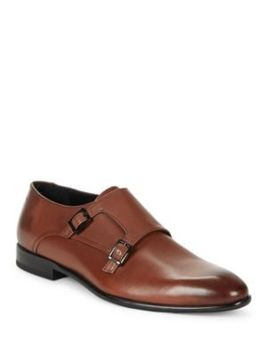 Leather Double Monk Strap Shoes by HUGO BOSS