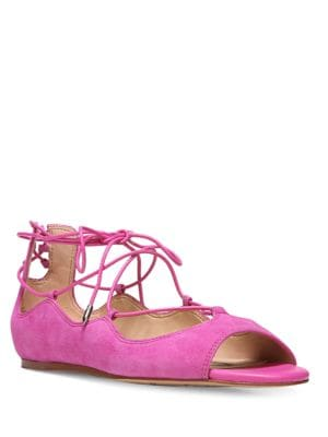 Barbara Lace Up Suede Flats by Sam Edelman