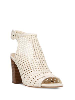 Evie Open-Toe Basket-Weave Leather Sandals by Sam Edelman