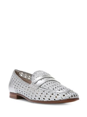 Leora Round-Toe Woven Leather Loafers by Sam Edelman