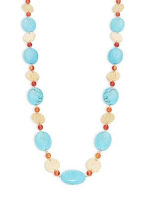 Turquoise and Hammered Disc Necklace 500033236449