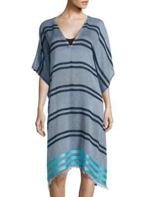 Block Striped Assymetrical Swim Caftan by Echo