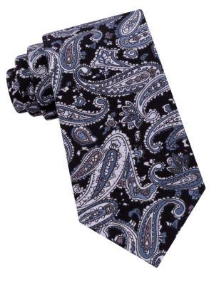 Paisley Printed Cotton Tie by Black Brown