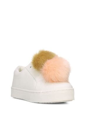 Leya Faux Fur-Accented Leather Sneakers by Sam Edelman