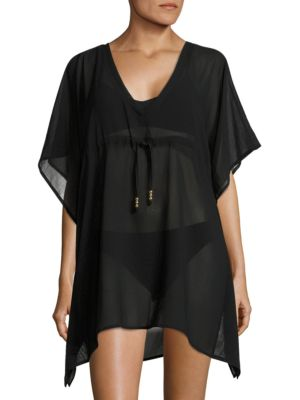 Butterfly Asymmetrical Hem Swim Cover-up Tunic by Echo