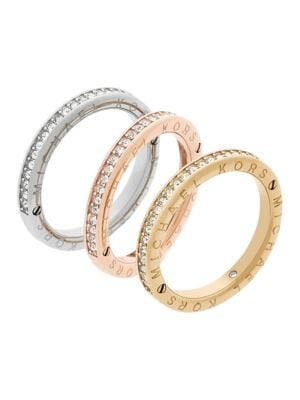 Tri-Toned Stacking Pave Rings 500033374034