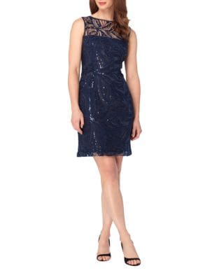 Sequin Novelty Embroidered Sheath Dress by Tahari Arthur S. Levine