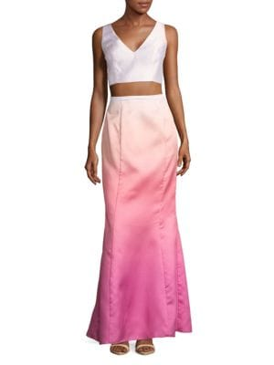 Two-Piece Ombre Cropped Top and Skirt Set by Laundry by Shelli Segal