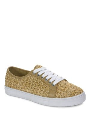 Gene Raffia and Calf Leather Casual Sneakers by Tahari