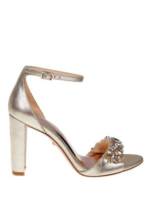 Barby Rhinestone Metallic Leather High Heels by Badgley Mischka