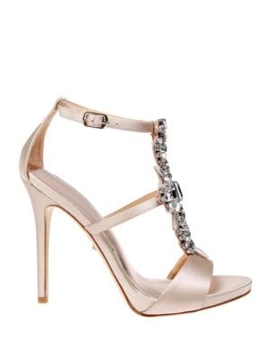 Basile Embellished Satin T-Strap Stiletto Sandal by Badgley Mischka