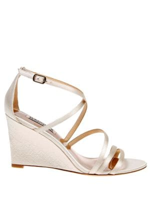 Bonanza Metallic Satin Wedge Heels by Badgley Mischka