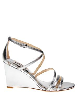 Buy Bonanza Metallic Leather Wedge Heels by Badgley Mischka online