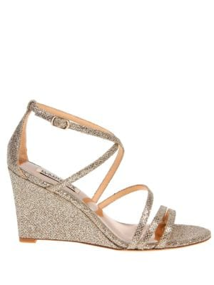 Bonanza Snake-Embossed Metallic Wedge Sandals by Badgley Mischka