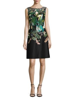 Leafy Oasis Scuba A-Line Dress by Adrianna Papell