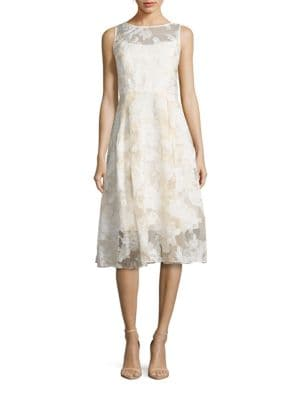 Sleeveless Lace Fit-and-Flare Dress by Adrianna Papell