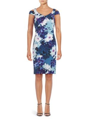 Floral Printed Cold Shoulder Dress by Adrianna Papell