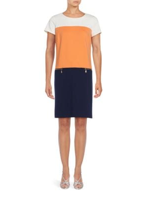 Colorblock Drop-Waist Dress by Ellen Tracy
