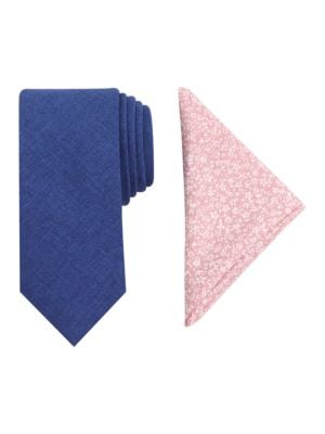 Textured Tie and Floral-Print Pocket Square Set by Tallia Orange