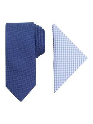 Textured Tie and Check Pocket Square Set by Tallia Orange