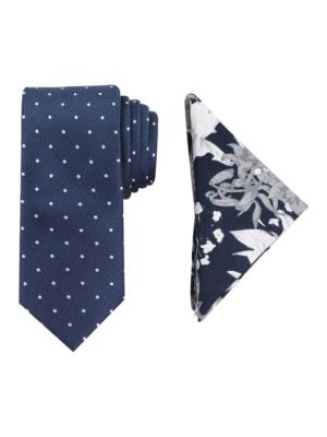 Printed Silk Tie and Pocket Square Set by Tallia Orange