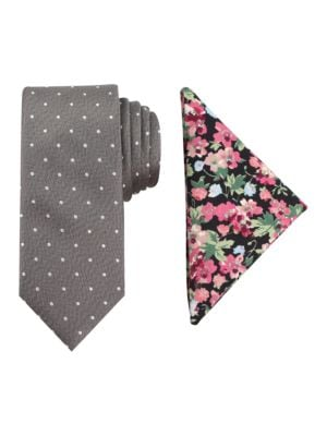 Dot-Print Tie & Floral-Print Pocket Square Set by Tallia Orange