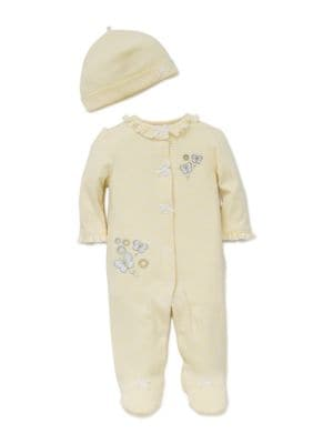 Baby Girls TwoPiece Footie and Hat Set