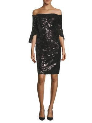 Sequined Bell Sleeve Off-The-Shoulder Dress by Laundry by Shelli Segal
